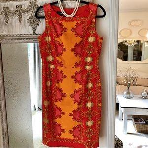 Nine West Orange Floral Sheath Dress size 6